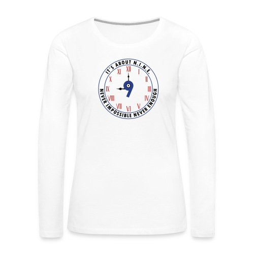 NINE Logo v2 2018 blue Outlines Red Numbers - Women's Premium Long Sleeve T-Shirt