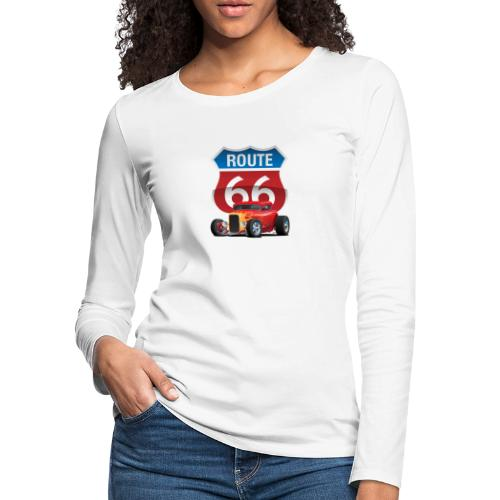 Route 66 Sign with Classic American Red Hotrod - Women's Premium Slim Fit Long Sleeve T-Shirt