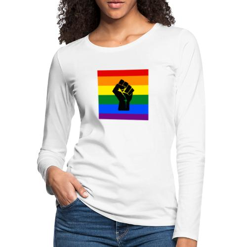 BLM Pride Rainbow Black Lives Matter - Women's Premium Slim Fit Long Sleeve T-Shirt