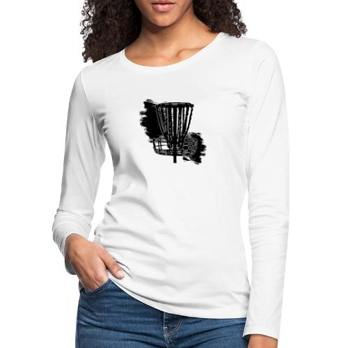 Disc Golf Basket Paint Black Print - Women's Premium Slim Fit Long Sleeve T-Shirt
