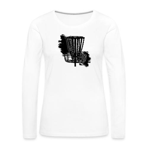Disc Golf Basket Paint Black Print - Women's Premium Slim Fit Long Sleeve T-Shirt