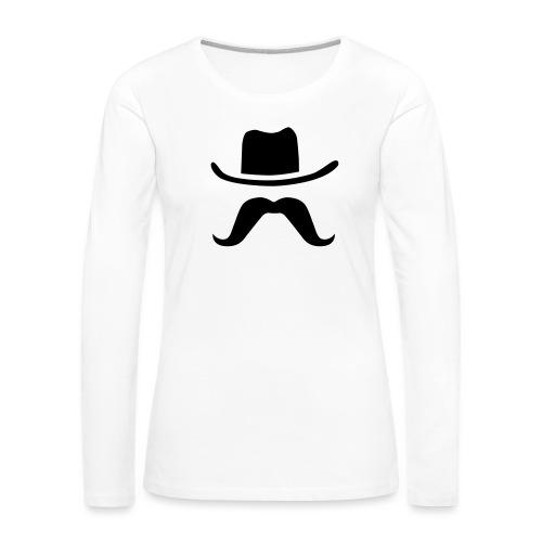 Hat & Mustache - Women's Premium Slim Fit Long Sleeve T-Shirt