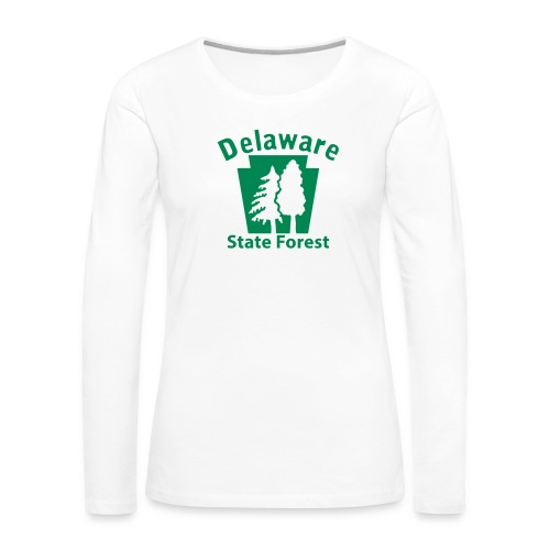 Delaware State Forest Keystone (w/trees) - Women's Premium Slim Fit Long Sleeve T-Shirt