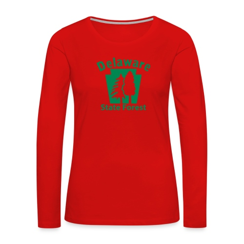 Delaware State Forest Keystone (w/trees) - Women's Premium Slim Fit Long Sleeve T-Shirt