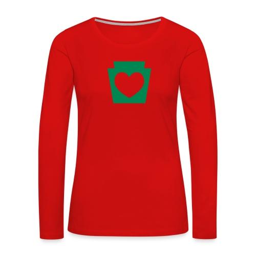 Love/Heart PA Keystone - Women's Premium Slim Fit Long Sleeve T-Shirt