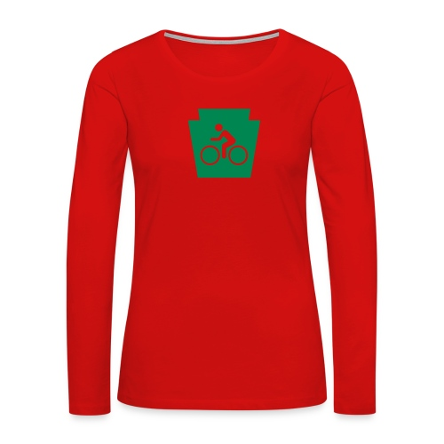 PA Keystone w/Bike (bicycle) - Women's Premium Slim Fit Long Sleeve T-Shirt