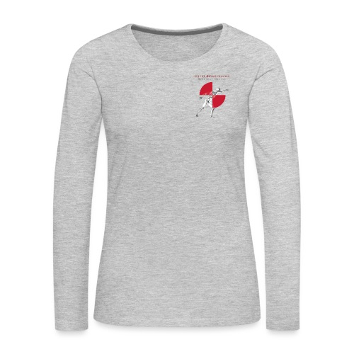 IBRC Pocket Logo with Buckle Up Brutus on Back - Women's Premium Slim Fit Long Sleeve T-Shirt