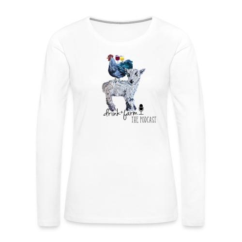 Drink & Farm Logo - Women's Premium Slim Fit Long Sleeve T-Shirt