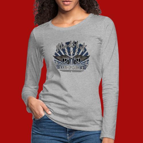 BloodShot Air Force with black - Women's Premium Slim Fit Long Sleeve T-Shirt