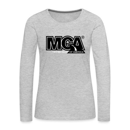 MCA Logo WBG Transparent BLACK TITLEfw fw png - Women's Premium Slim Fit Long Sleeve T-Shirt