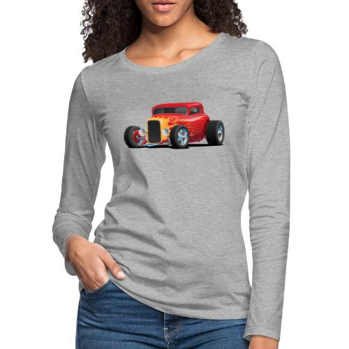 Classic Bold Red Custom Street Rod - Women's Premium Slim Fit Long Sleeve T-Shirt
