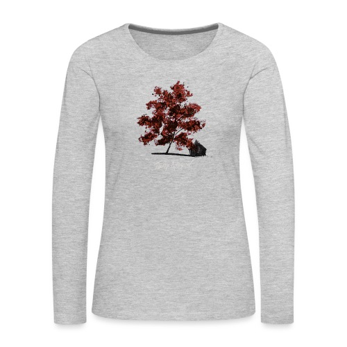 Red Tree design3PNG - Women's Premium Slim Fit Long Sleeve T-Shirt