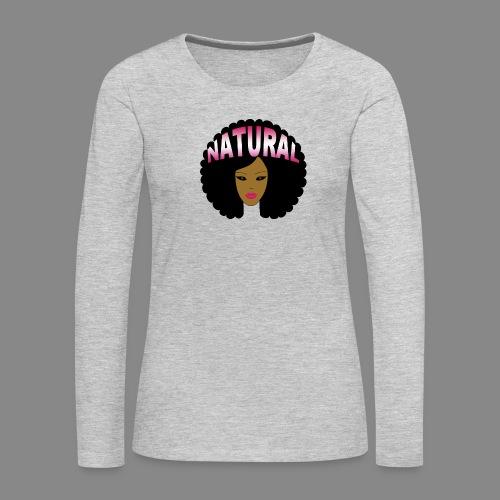 Natural Afro (Pink) - Women's Premium Slim Fit Long Sleeve T-Shirt
