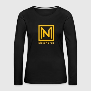 MetaNerdz Logo with Yellow Words - Women's Premium Long Sleeve T-Shirt