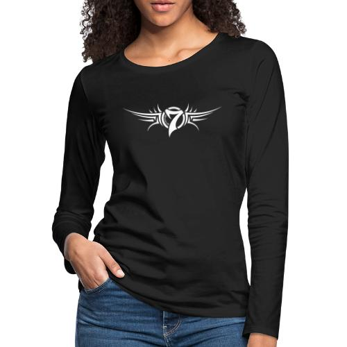 MayheM-7 Tattoo Logo White - Women's Premium Slim Fit Long Sleeve T-Shirt