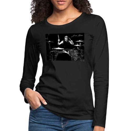 Landon Hall On Drums - Women's Premium Slim Fit Long Sleeve T-Shirt
