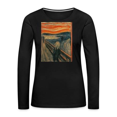 The Scream (Textured) by Edvard Munch - Women's Premium Long Sleeve T-Shirt