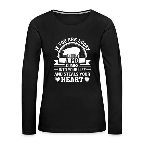 Mini Pig Comes Your Life Steals Heart - Women's Premium Long Sleeve T-Shirt