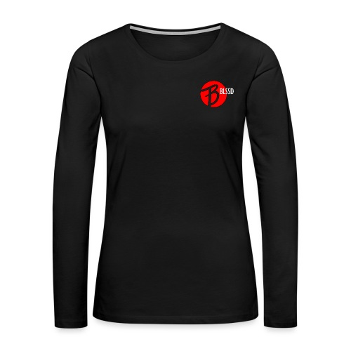 RED BLSSD CIRCLE WITH WHITE WRITING - Women's Premium Slim Fit Long Sleeve T-Shirt