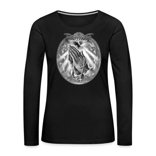 Praying Hands by RollinLow - Women's Premium Slim Fit Long Sleeve T-Shirt