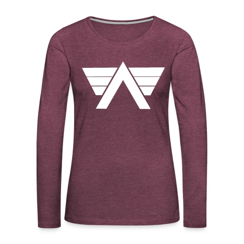 Bordeaux Sweater White AeRo Logo - Women's Premium Slim Fit Long Sleeve T-Shirt