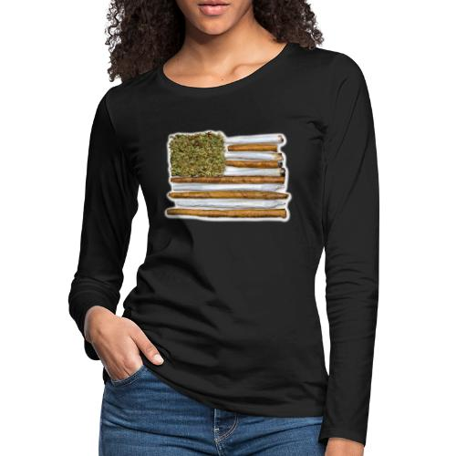 American Flag With Joint - Women's Premium Slim Fit Long Sleeve T-Shirt