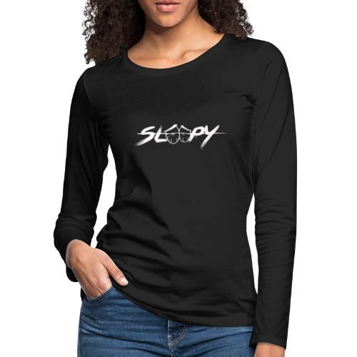 Sleepy Logo White - Women's Premium Slim Fit Long Sleeve T-Shirt