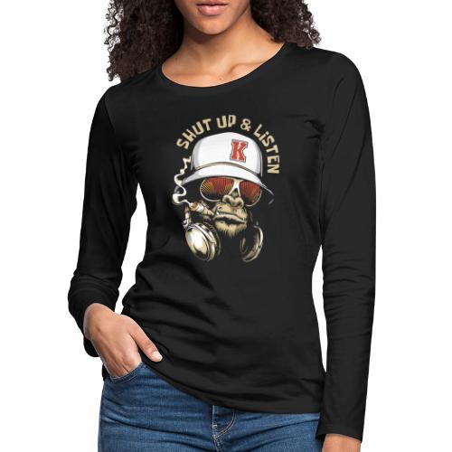 gorilla music - Women's Premium Slim Fit Long Sleeve T-Shirt