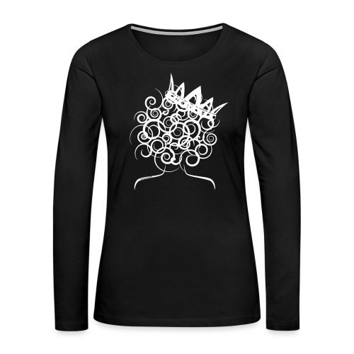 Curly Queen with Crown_ GlobalCouture Women's T-Sh - Women's Premium Slim Fit Long Sleeve T-Shirt