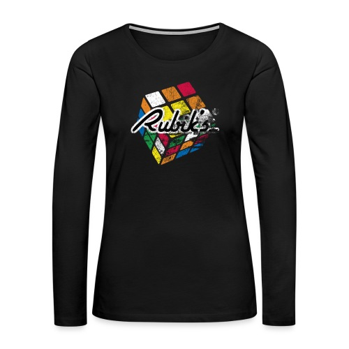 Rubik's Cube Distressed and Faded - Women's Premium Long Sleeve T-Shirt