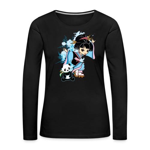 Cartoon Kawaii Geisha Panda Ladies T-shirt by - Women's Premium Long Sleeve T-Shirt