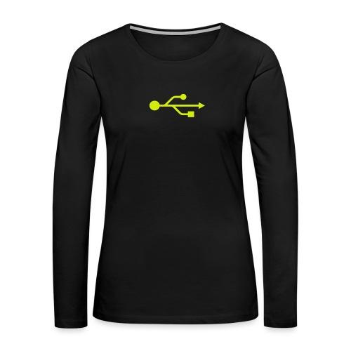 Yellow USB Logo Mid - Women's Premium Long Sleeve T-Shirt