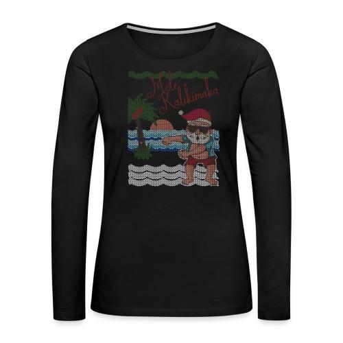 Ugly Christmas Sweater Hawaiian Dancing Santa - Women's Premium Slim Fit Long Sleeve T-Shirt