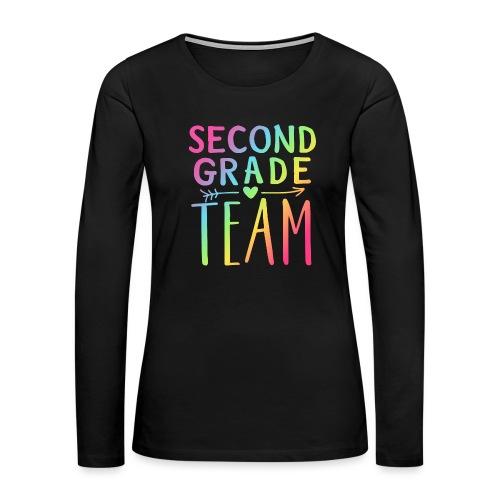 Second Grade Team Neon Rainbow Teacher T-Shirts - Women's Premium Long Sleeve T-Shirt