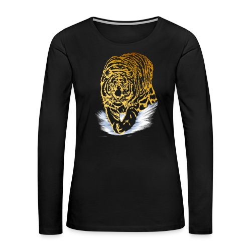 Golden Snow Tiger - Women's Premium Slim Fit Long Sleeve T-Shirt