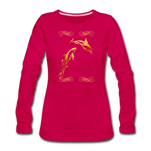 Two Gold Dolphins with frilly frames - Women's Premium Long Sleeve T-Shirt