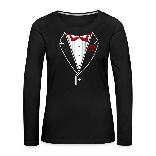 Tuxedo with Red bow tie - Women's Premium Slim Fit Long Sleeve T-Shirt