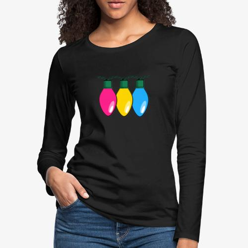 Pansexual Pride Christmas Lights - Women's Premium Slim Fit Long Sleeve T-Shirt