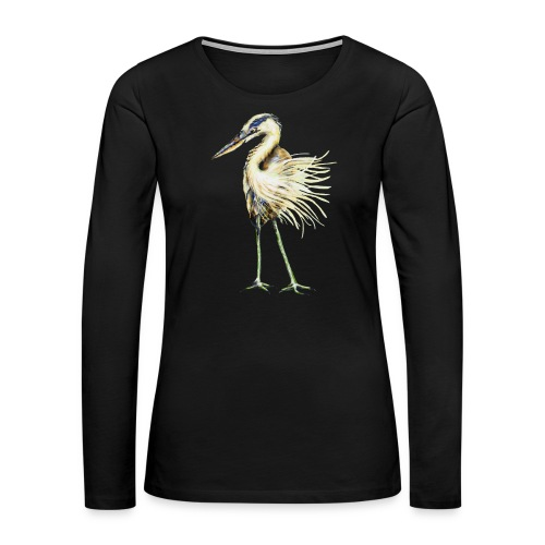 Great Blue Heron - Women's Premium Slim Fit Long Sleeve T-Shirt