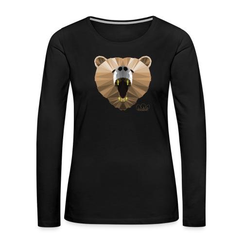 Hungry Bear Women's V-Neck T-Shirt - Women's Premium Slim Fit Long Sleeve T-Shirt