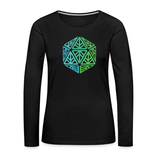 Green Leaf Geek Iconic Logo - Women's Premium Slim Fit Long Sleeve T-Shirt