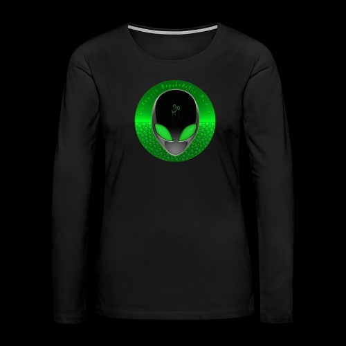 Psychedelic Alien Dolphin Green Cetacean Inspired - Women's Premium Slim Fit Long Sleeve T-Shirt