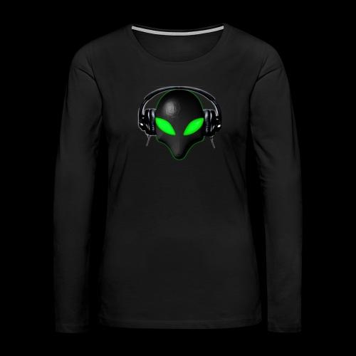 Alien Bug Face Green Eyes in DJ Headphones - Women's Premium Slim Fit Long Sleeve T-Shirt