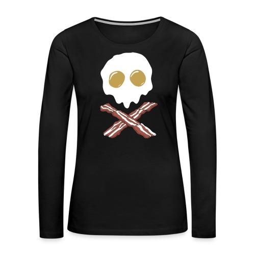 Breakfast Skull - Women's Premium Slim Fit Long Sleeve T-Shirt