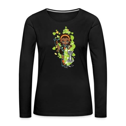 Aisha the African American Chibi Girl - Women's Premium Long Sleeve T-Shirt