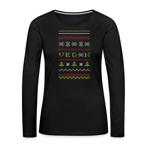 Veg*n Ugly Sweater Women's Wideneck Sweatshirt - Women's Premium Long Sleeve T-Shirt