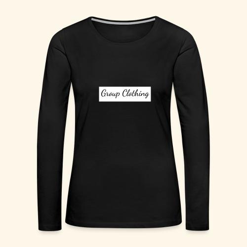 Cursive Black and White Hoodie - Women's Premium Long Sleeve T-Shirt