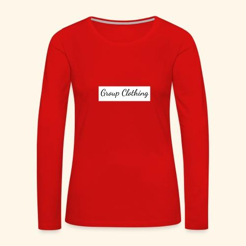 Cursive Black and White Hoodie - Women's Premium Slim Fit Long Sleeve T-Shirt