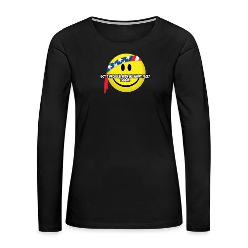 Happy Face USA - Women's Premium Slim Fit Long Sleeve T-Shirt