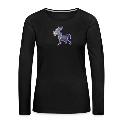 Funny Keep Smiling Donkey - Women's Premium Slim Fit Long Sleeve T-Shirt
